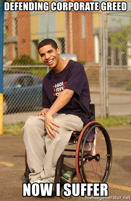 Drake Wheelchair - Defending corporate greed Now i suffer