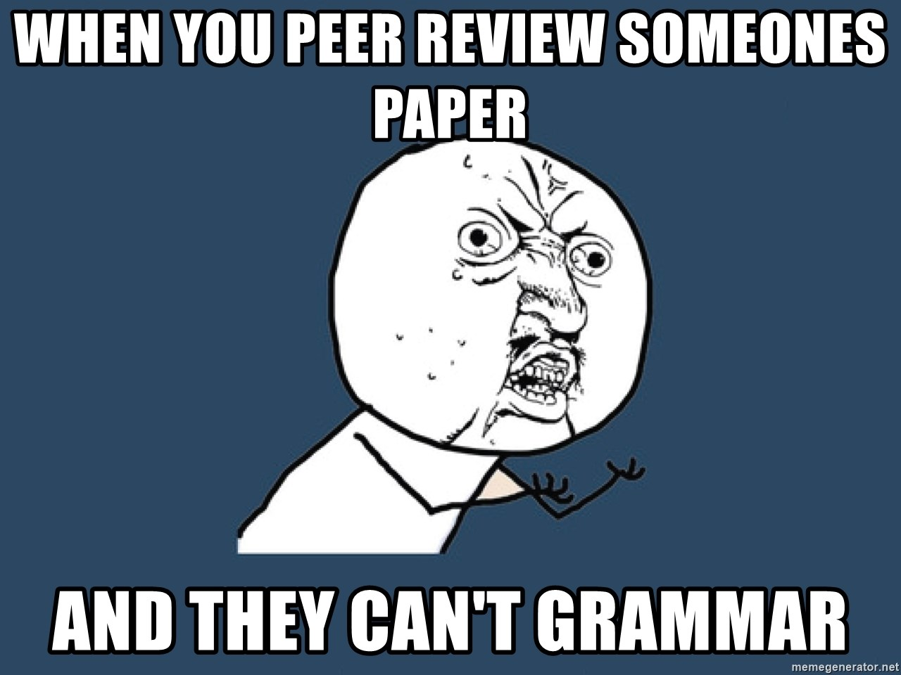 Y U No - When you peer review someones paper and they can't grammar