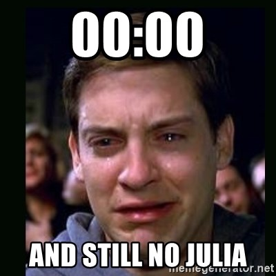 crying peter parker - 00:00 and still no Julia