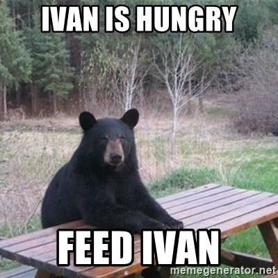 Patient Bear - ivan is hungry feed ivan