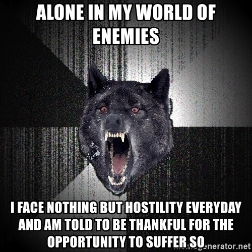 Insanity Wolf - ALONE IN MY WORLD OF ENEMIES I FACE NOTHING BUT HOSTILITY EVERYDAY AND AM TOLD TO BE THANKFUL FOR THE OPPORTUNITY TO SUFFER SO