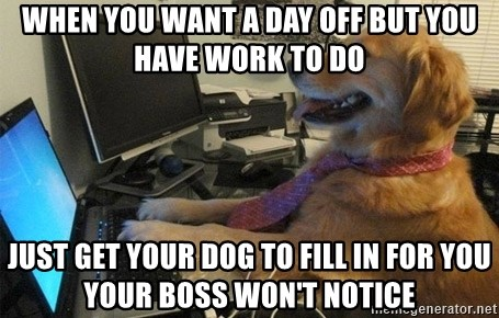 I have no idea what I'm doing - Dog with Tie - when you want a day off but you have work to do just get your dog to fill in for you your boss won't notice