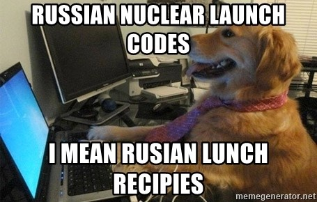 I have no idea what I'm doing - Dog with Tie - russian nuclear launch codes i mean rusian lunch recipies
