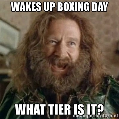 What Year - Wakes up boxing day What Tier is it?