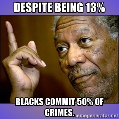 "Morgan Freeman ""he's Right u know"" - Despite being 13% Blacks commit 50% of crimes."
