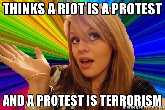 Dumb Blonde - Thinks a riot is a protest And a protest is terrorism