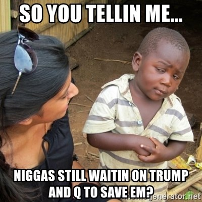 Skeptical 3rd World Kid - So you tellin me... Niggas still waitin on Trump and Q to save em?