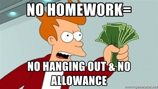 Shut up and take my money Fry blank - no homework= no hanging out & no allowance