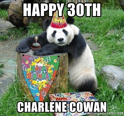 Happy Birthday Panda - Happy 30th  Charlene Cowan