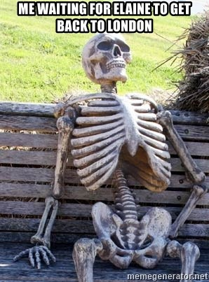 Waiting Skeleton - Me waiting for Elaine to get back to London