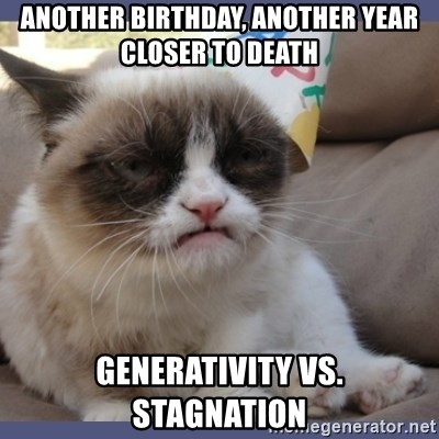 Birthday Grumpy Cat - another birthday, another year closer to death Generativity vs. Stagnation