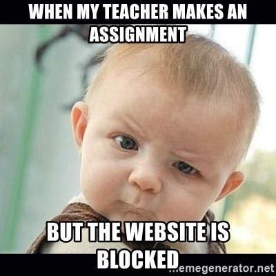 Skeptical Baby Whaa? - When my teacher Makes an assignment But the website is blocked