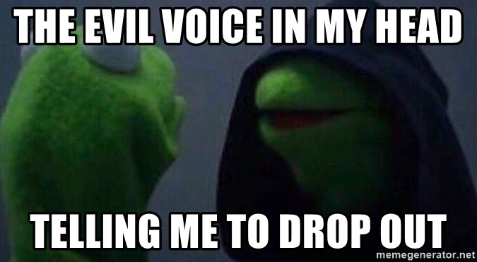 Evil kermit - the evil voice in my head telling me to drop out