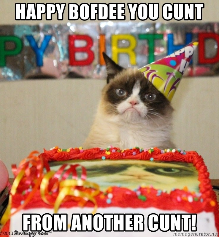 Grumpy Cat Birthday hat - Happy bofdee you cunt from another cunt!