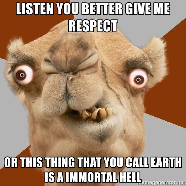 Crazy Camel lol - LISTEN YOu bETTER GIVE ME RESPECT OR THIS THING THAT YOU CALL EARTH IS A IMMORTAL HELL