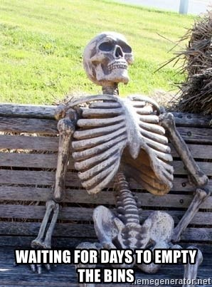 Waiting Skeleton - Waiting for days to empty the bins