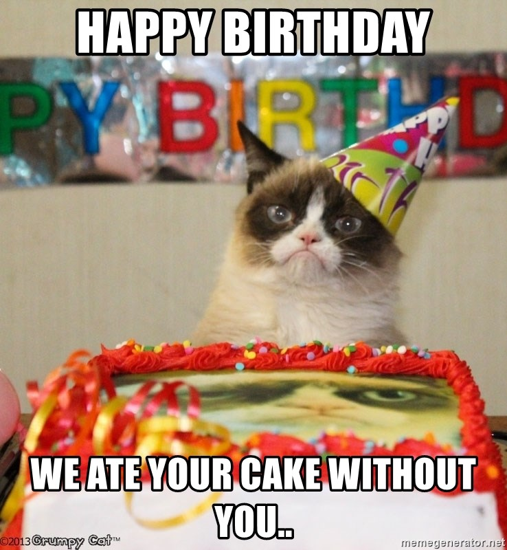 Grumpy Cat Birthday hat - Happy Birthday We ate your cake without you..
