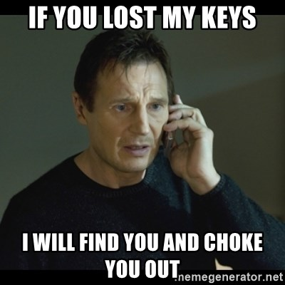 I will Find You Meme - If you lost my keys I will find you and choke you out