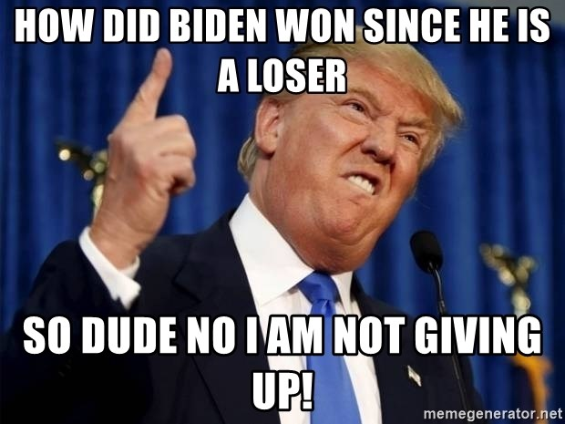 Donald Trump 2 - How did biden won since he is a loser So dude no i am not giving up!