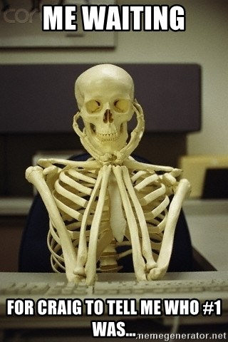 Skeleton waiting - Me waiting  For Craig to tell me who #1 was...