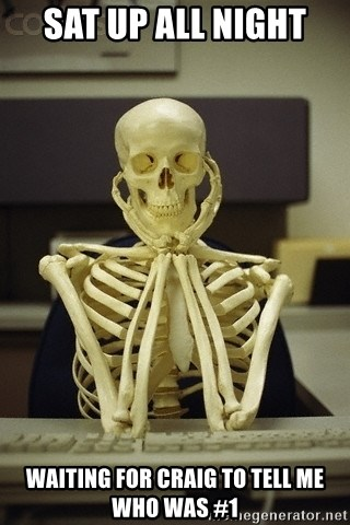 Skeleton waiting - Sat up all night  Waiting for Craig to tell me who was #1