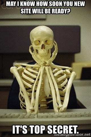 Skeleton waiting - MAY I KNOW HOW SOON YOU NEW SITE WILL BE READY? IT'S TOP SECRET.