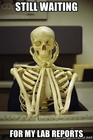 Skeleton waiting - Still waiting for my lab reports