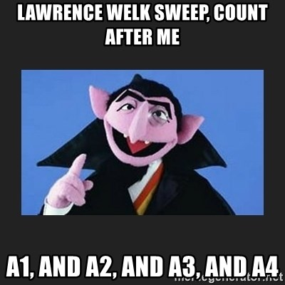 The Count from Sesame Street - Lawrence Welk sweep, count after me a1, and a2, and a3, and a4