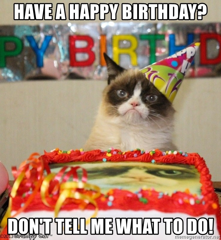 Grumpy Cat Birthday hat - Have a Happy Birthday? Don't Tell Me What to do!
