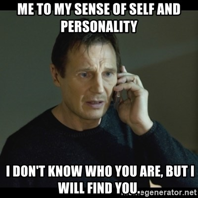 I will Find You Meme - me to my sense of self and personality  i don't know who you are, but i will find you.