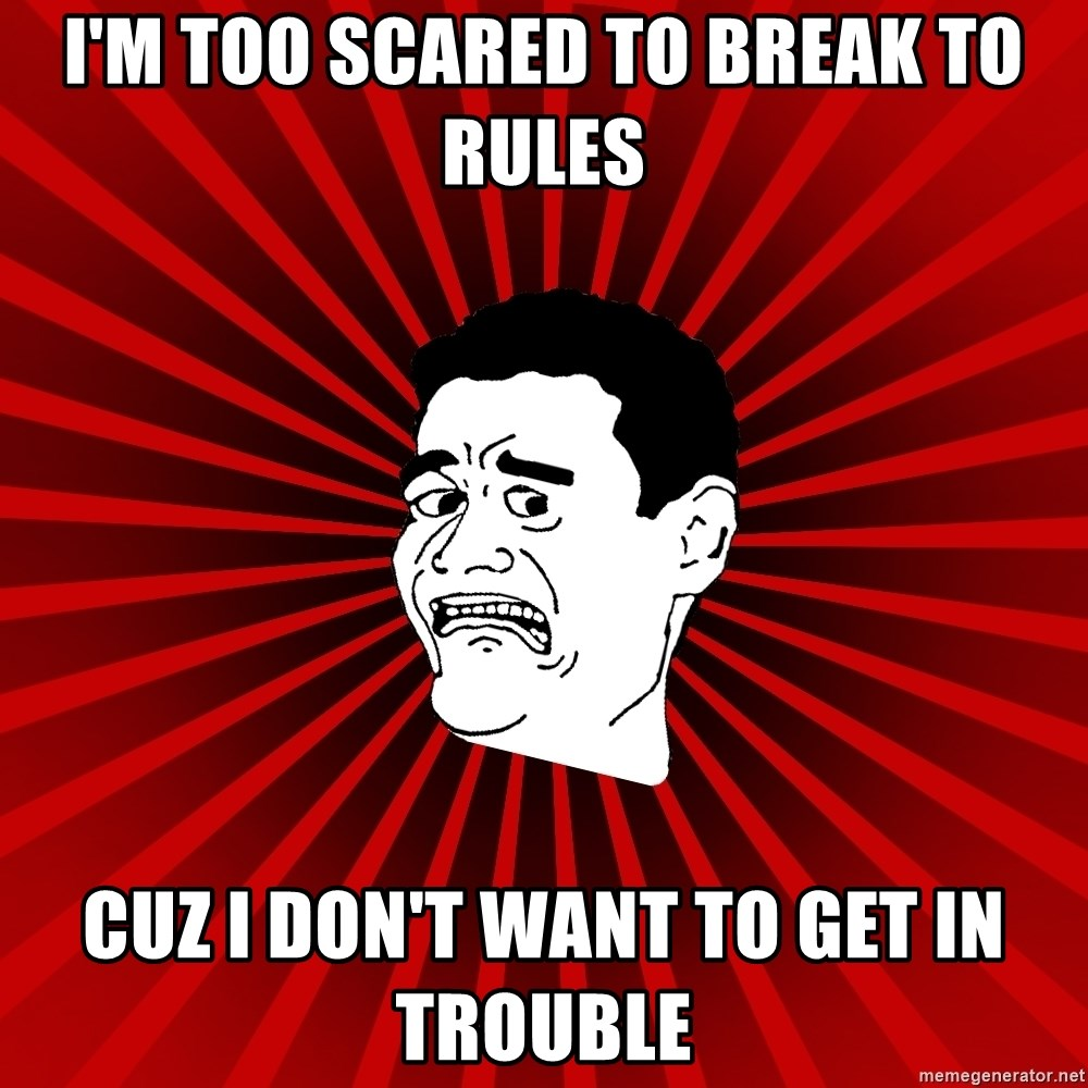 Afraid Yao Ming trollface - I'm too scared to break to rules cuz I don't want to get in trouble