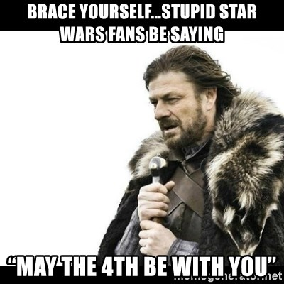 """Winter is Coming - Brace yourself...Stupid star wars fans be saying """"May the 4th be with you"""""""