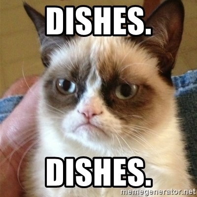 Grumpy Cat  - Dishes. Dishes.