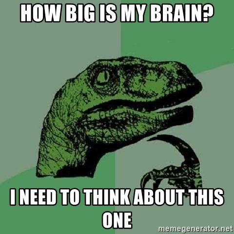 Philosoraptor - How big is my brain? I need to think about this one