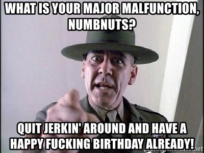 full metal jacket - What is your Major malfunction, Numbnuts?  Quit Jerkin' around and have a happy Fucking Birthday already!