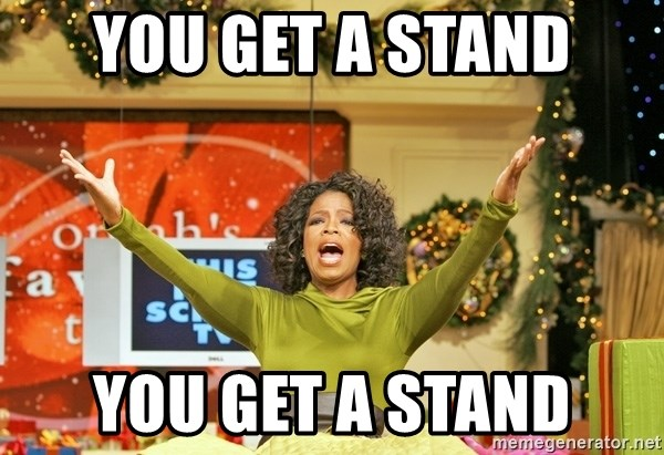 Oprah Gives Away Stuff - you get a stand you get a stand