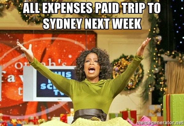 Oprah Gives Away Stuff - All expenses paid trip to SYDNEY next week