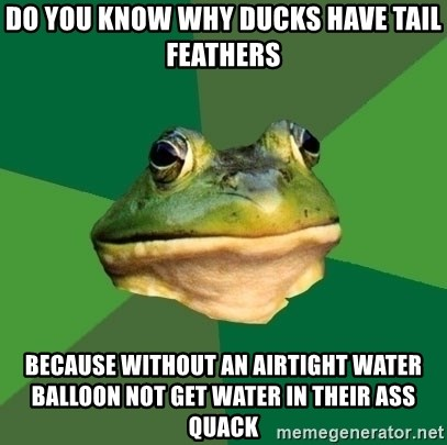 Foul Bachelor Frog - Do you know why ducks have tail feathers Because without an airtight water balloon not get water in their ass quack
